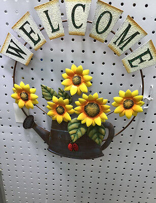 Welcome Sign Sunflower Ladybug Watering Can Decor Door Porch Home Yard Hang Art