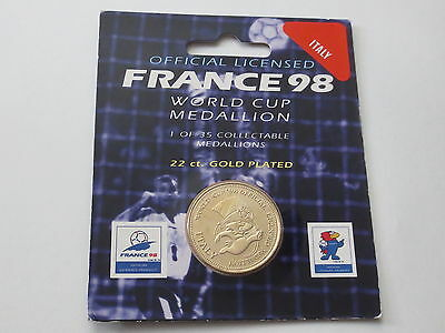 Italy Football 22 Carat Gold Plated Medallion Coin 1998 France FIFA World Cup