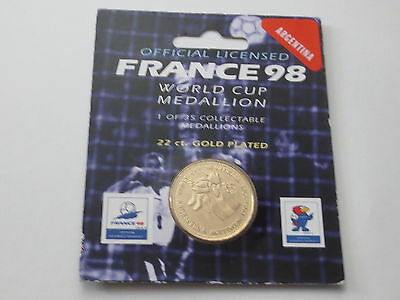 Argentina 22 Carat Gold Plated Medallion Coin 1998 France FIFA World Cup