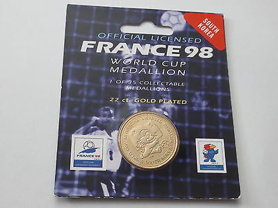 South Korea 22 Carat Gold Plated Medallion Coin 1998 France FIFA World Cup