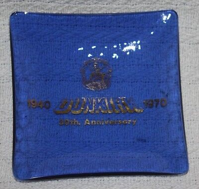 Vintage Dunkirk Veterans Association 30th Anni, Blue Glass Ashtray/Pin Dish WWII
