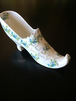 Antique Austrian China Shoe Blue Flowers Raised Detail And Gold Detail