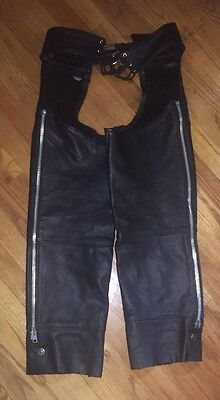 Harley Davidson Women's Black Leather Chaps Size Medium
