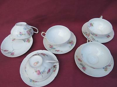 Ch Haviland Gda Limoges France Pink Roses Blue Green Floral's 5 Cup And Saucers