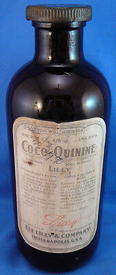 Vintage Coco-Quinine Eli Lilly Medicine Bottle,capped With Contents