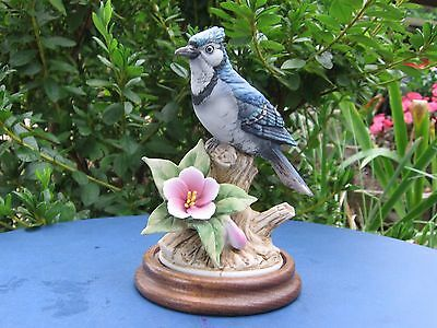 Andrea by Sadek  BLUE JAY Porcelain Figure With Wooden Base #9386 Excellent!