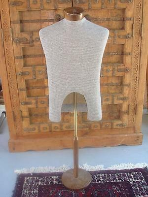 Vintage~Male~Torso Mannequin~with Wood Stand