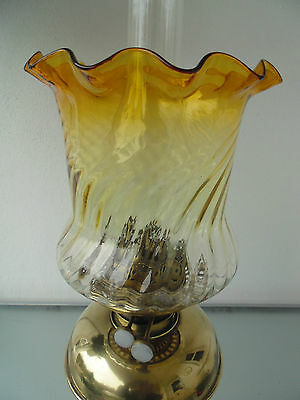 British Quality Glass Crystal Golden Amber/clear Duplex Oil Lamp Shade.
