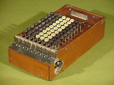 Antique COMPTOMETER Adding Machine Calculator first model in Mahogany frame 1887