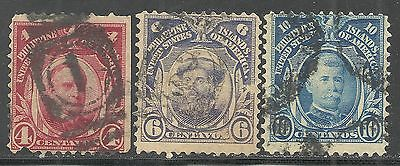us possessions Philippines stamps scott 242, 243, 245 issues of 1906 - set of 3