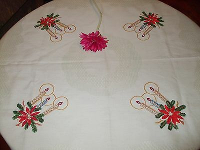 Vintage German Christmas Hand Embroidered Table Runner Tablecloth&METALLIC lace