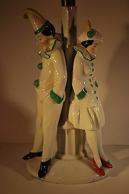 Original Vintage Art Deco Table Lamp Base with Boy and Girl Pierrot's - French?