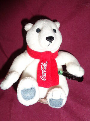 "Bear Polar Red Coca Cola Scarf 4"" sitting white plush Coke Bottle Ornament"
