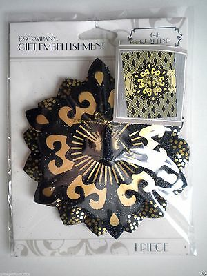 K & Company ~ Black & Gold Medallion Gift Embellishment