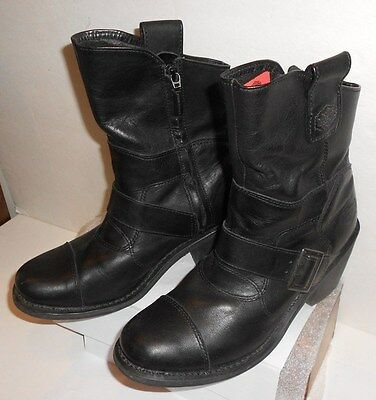 Harley Davidson Womens Black Leather Boots Size 9 1/2