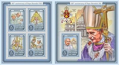 Z08 IMPERFORATED SLM17120ab SOLOMON ISLANDS 2017 Pope Benedict XVI MNH ** Postfr