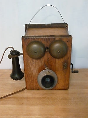 Antique Kellogg Crank Wall Mount Telephone Quartersawn Tiger Oak. NICE!