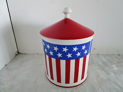 """Royal Crown PORCELAIN COOKIE JAR OLD GLORY #2815 RED WHITE BLUE 10""""T CIRCUS TENT"""