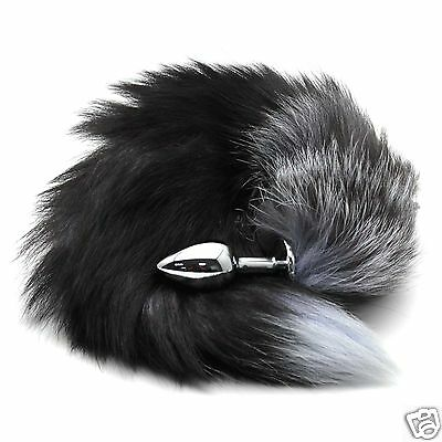 Faux Fur Fox Cat Tail With Stainless Steel Plug For Adult Fancy Dress Practical