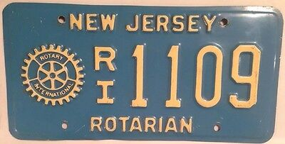 New Jersey ROTARY International Club license plate Rotarian Service Above Self