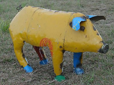 "Mexican Metal Art 30"" Drum Metal Oil Barrel Farm Pig Home Garden Patio Recycled"