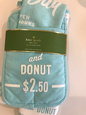 "kate spade ""Order's Up"" turquoise and white, set / potholder, towel & oven mitt"