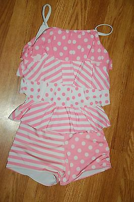 Girls Child Large Pink/White Ruffles Striped/Polka Dot 2 Pc Dance Outfit