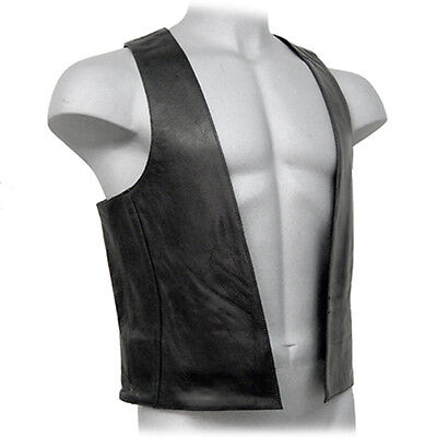 Real Leather Black Mens Bar Vest With Side Rings Biker Cowhide Leather Waistcoat