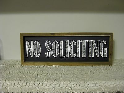 """No Soliciting Porch Sign Farmhouse Style Antique Look Black White  6"""" X 16 1/2"""""""