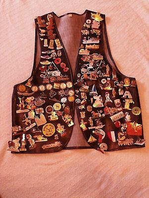 Vintage Wyoming Jaycees Leather Vest with 100+ Jaycee Pins Men's Large