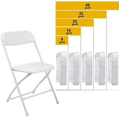 (8 to 40 PACK) Commercial Wedding Quality Stackable Plastic Folding Chairs White
