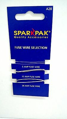 Sparkpak quality fuse wire selection 5a, 15a, and 30amp