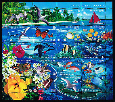 Mint 1999 Cocos Island Mosaic Stamp Sheet Sheetlet Muh