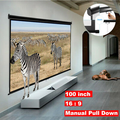 """100"""" 16:9 3D 4K HD Manual Projection Projector Screen Home Outdoor Movie Cinema"""