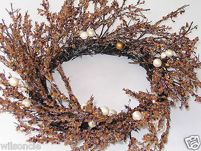 Shabby Chic Amber Caramel Red Faux Crystal Glass Beads Branch Wreath 18 in