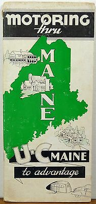 1930's 40's Motoring thru Maine vintage travel guide road maps brochure b