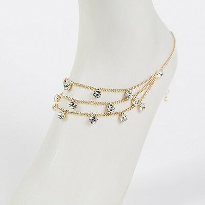 Rhinestone drops triple layered chain ANKLET gold plated beach bridal barefoot