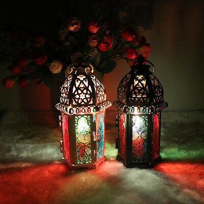 Windproof Iron and Colored Glass Candlestick Candle Lantern for Christmas Party