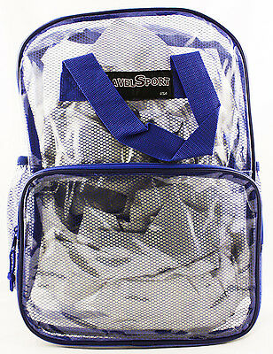 New Travel Sport Clear Back Pack Royal Blue Netting School Nascar Sports Gym