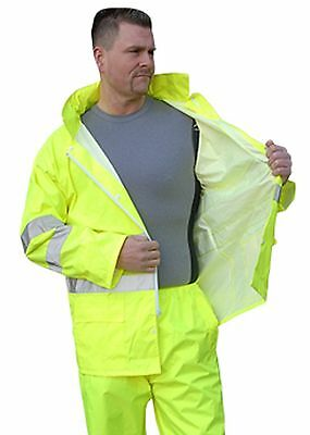 Majestic Glove 75-1351/L Rain Jacket PU Hi-Vis Class 3 Large Yellow