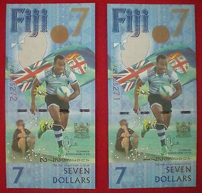 Fiji 2017 7 Dollars Olympics Gold Note (From Fiji) 2-Pcs Authentic! Unc!