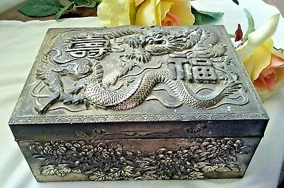 Vintage DETAILED DRAGON HEAVY METAL BOX JAPAN signed