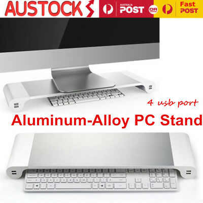 Premium Slim Aluminium Monitor Stand Riser iMac MacBook PC Laptop 4 USB Charger