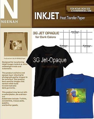 Neenah 3G Jet Opaque Heat Transfer Paper for Dark Colors A4 Size (25 sheets)