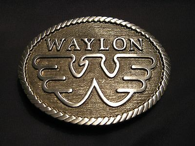Waylon Jennings Flying W Belt Buckle Solid Fine Pewter Silver/Grey