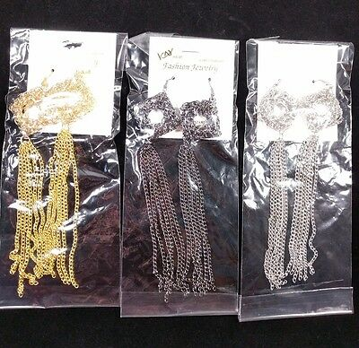 "A Lot Of 12  6"" Black-Silver-Gold Color Chains Fall Drop Dangle Hook Earrings"