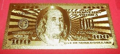 BEST PRICE Lot: 1 (one)  MINT 24k GOLD FOILED (PLATED) $100 NOVILTY BILL (new)
