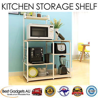 New Deluxe Organizer Kitchen Workbench Storage Shelf (White Oak)