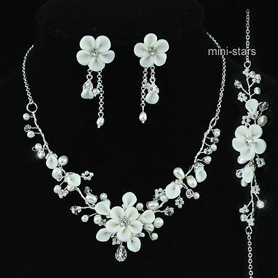 Bridal Prom Ivory Flower Ceramic Handmade Necklace Bracelet Earrings Set AS1202