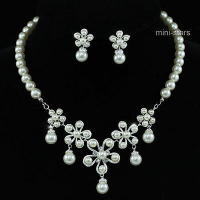 Wedding Bridal Flower Cream Ivory Faux Pearl Necklace Set AS1207